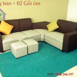 Thanh lý sofa góc màu ghi nâu đất