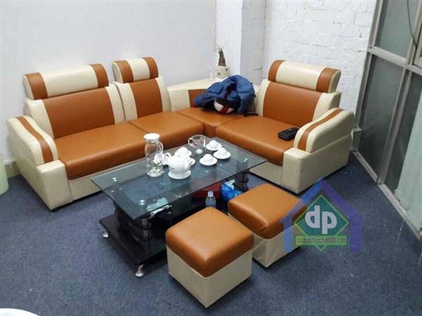 Thanh lý sofa da góc màu vàng bò giá RẺ NHẤT tại Hà Nội 1
