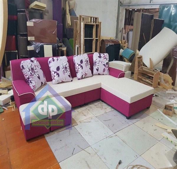 Thanh lý sofa góc nỉ thông minh màu tím họa tiết hoa