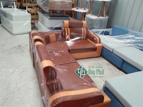 Thanh lý sofa góc bọc da màu cafe cháy (SFG2300-4)