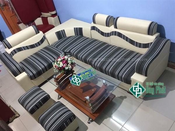 Thanh lý bộ sofa da pha nỉ sọc đen mới 100% (SFG2500-2)