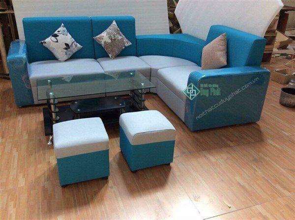 Thanh lý sofa nỉ góc 4 cục ghi xanh mới 100%