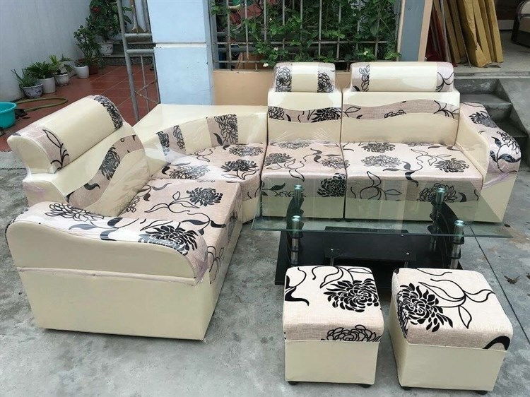 Thanh lý bộ sofa góc da pha nỉ màu hoa cúc