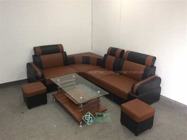 Ghế sofa góc 4 cục bọc da màu cafe kết hợp màu đen kt 1m6x2m1