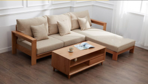 Sofa giường được làm bằng chất liệu da thật, mềm mại, với màu sắc tương phản với tay vịn rất độc đáo và sang trọng